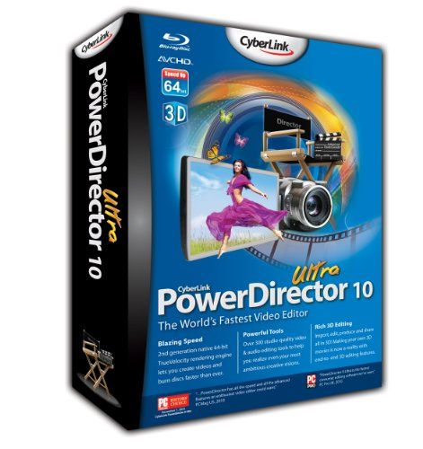 PowerDirector 10 Ultra (PC) - http://www.cheaptohome.co.uk/powerdirector-10-ultra-pc/  PowerDirector 10 Ultra (PC) Short Description CyberLink PowerDirector 10 Ultra is the world's fastest video editing software. With a revamped TrueVelocity rendering engine that's faster than ever, along with the richest end-to-end 3D editing suite available, PowerDirector 10 is redefining digital video editing. Join over 2,000,000 users and experience first-hand the award-winni