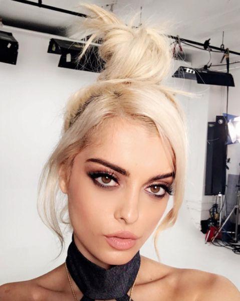 topknot topknot inspo bebe rexha matt fugate platinum blonde hair                                                                                                                                                                                 More