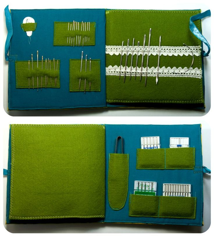 The first page has a needle threader and needles organized by type. Large needles are threaded through holes in cotton lace. Back page has pockets for a pair of japanese thread snips and machine needles. Blogged about at TinyApartmentCrafts