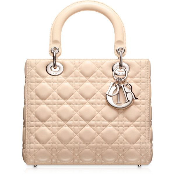 "LADY DIOR Sac ""Lady Dior"" beige rose ❤ liked on Polyvore"
