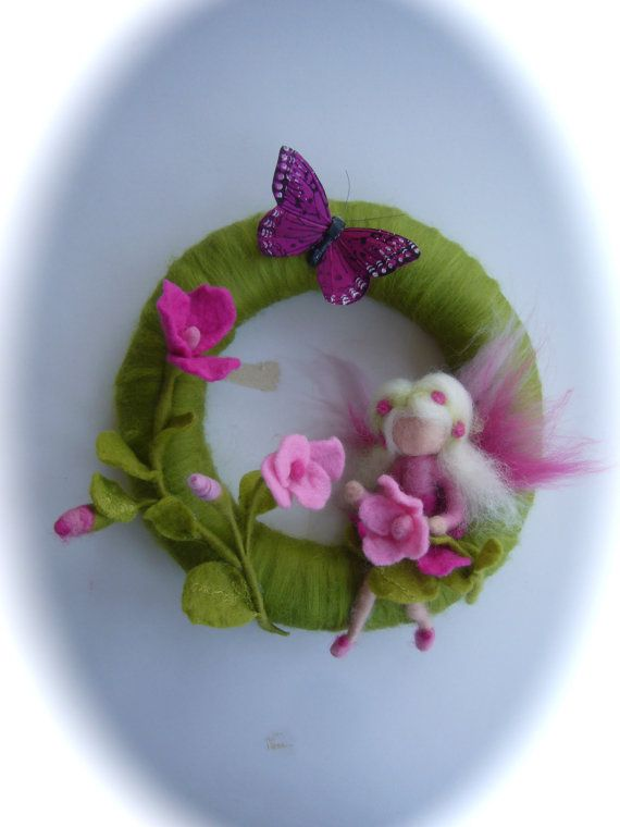 Fairy Wreath. Felted .Waldorf. Elf. Summer Spring door FilzArts
