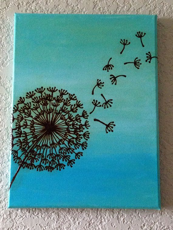 Dandelion Painting Henna Art Mixed Media with Henna by mehndiart09, $25.00