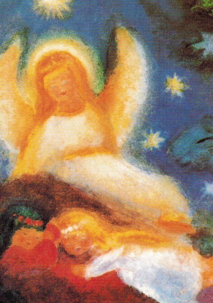 märchen  waldorf  kunstpostkarte  engel mit kindern