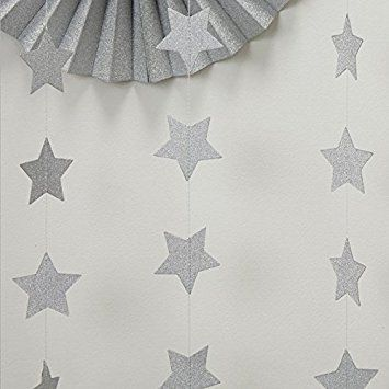 Silver star Garland,Skylove Silvery Christmas galaxy banner, Twinkle Twinkle Little Star garland Christmas garland, Christmas decor, Silver Baby shower - 2-Pack(4 inch in Diameter, 6.6 Feet) (Silver)