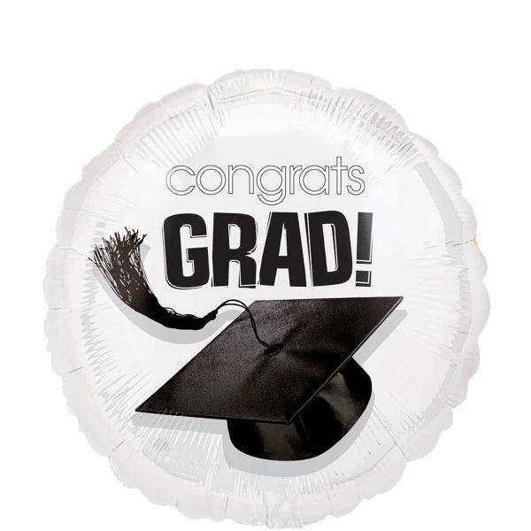 White Graduation Balloon – Congratulations Graduate