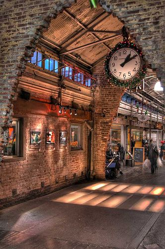 Chelsea Market    Chelsea Market is an enclosed urban food court, shopping mall, office building and television production facility located in the Chelsea neighborhood of the borough of Manhattan, in New York City.     75 9th Avenue