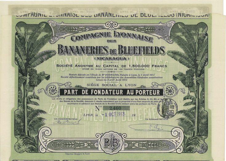 Bananeries de Bluefields - #scripomarket #scriposigns #scripofilia #scripophily #finanza #finance #collezionismo #collectibles #arte #art #scripoart #scripoarte #borsa #stock #azioni #bonds #obbligazioni