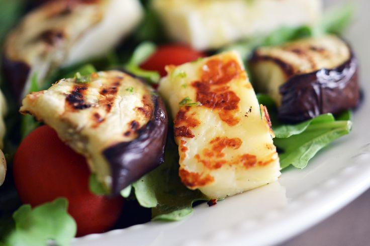 Grilled Eggplant and Halloumi Salad