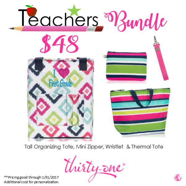 Keep your lunch, makeup and all of those papers that need too be graded and those lesson plans at your fingertips with this bundle! #ThirtyOneGifts #TallOrganizingTote #CandyCorners #TeachersTote #MiniZipper #Wristlet #ThermalTote #PersonalizationStudio #Organization