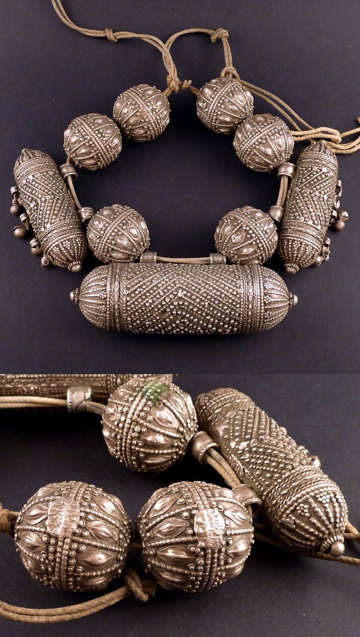 Yemen | Old necklace with one big central hirz and two smaller hirz with dances, and 6 large silver beads | Silver; 356g | 1'150€ ~ https://www.etsy.com/ch-en/listing/182557579/extraordinary-yemen-old-silver-necklace