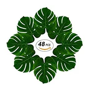 Soyee 48pcs Large Artificial Palm Leaves, DIY Waterproof Placemats and Table Runners for Hawaiian Luau Party Decoration, Jungle Party Supply
