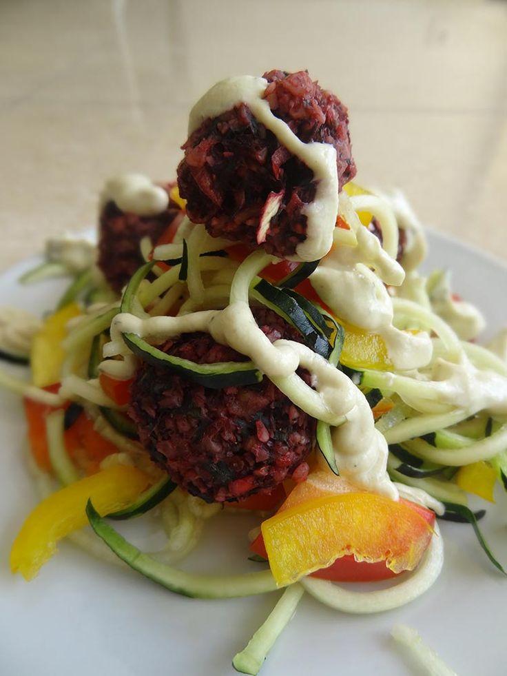 Raw Vegan Zucchini Pasta Al Fredo with Beetballs Recipe   Raw Food Bali