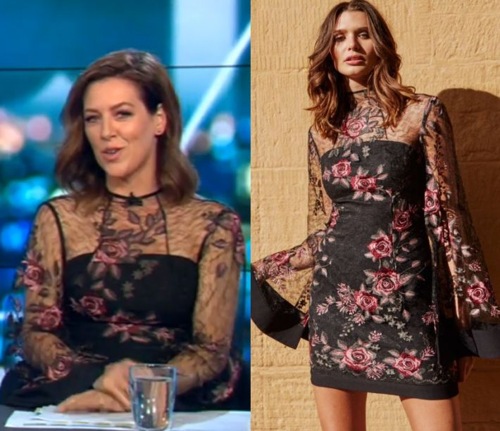 Gorgi Coghlan wears this black flared sleeved mesh mini dress with embroidered rose detail in this episode of The Project on Friday October 6th 2017. It is the Rodeo Show Valentina Dress