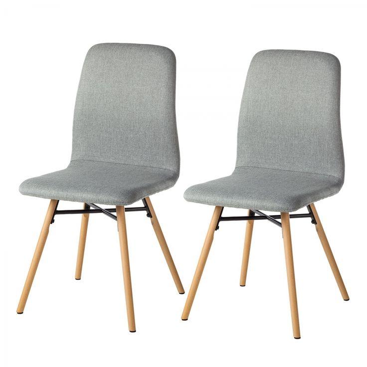 Gestoffeerde stoelen Daleras (2-delige set) - geweven stof/massief beukenhout - Granietkleurig