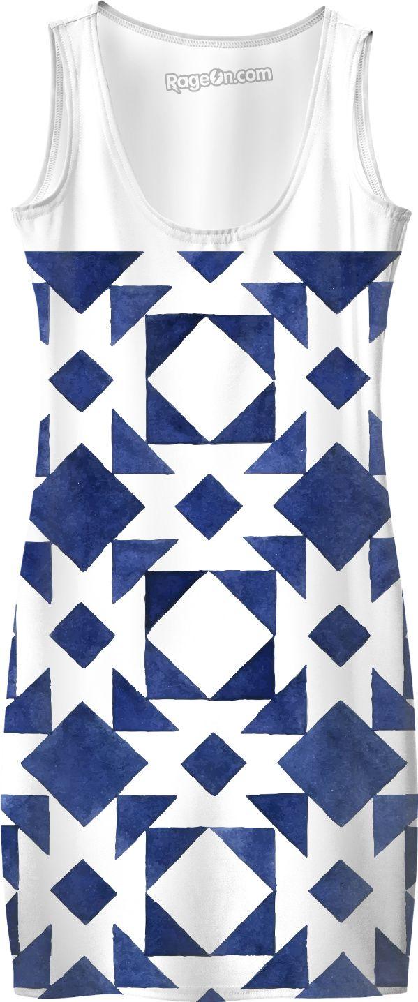 New design in shop : Exotic italia dress : blue and white. Designers fashion.