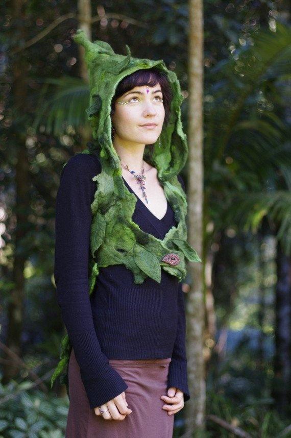 Cloaks Pagan Wicca Witch:  Felt Wood Nymph Elf Rain Hood, by frixiegirl.