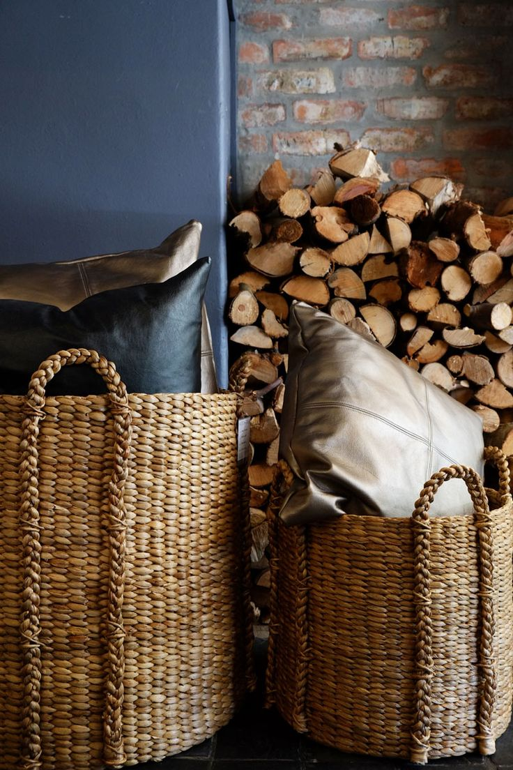 Leather cushions and woven baskets - texture love!