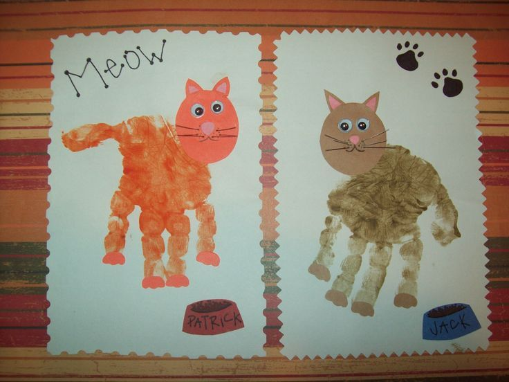 Pets:  Cat Handprints with Construction Paper Faces