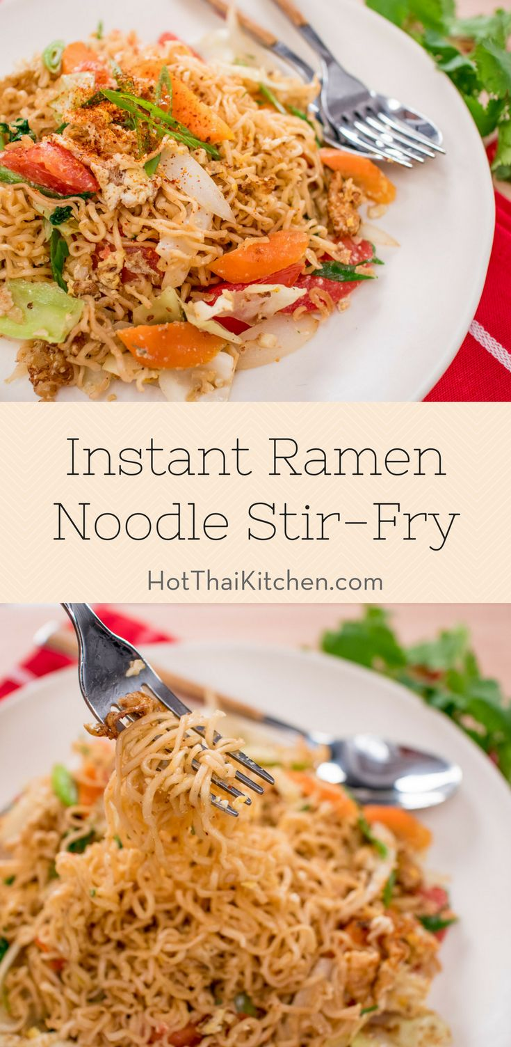 "Instant Ramen Noodle Stir-Fry Recipe - Pad Mama ผัดมาม่า - Hot Thai Kitchen! - ""Mama"" is Thailand's favourite brand of instant noodles, and we love it so much we use it in all sorts of recipes.These Mama noodles have a very unique texture and flavour which work well in so many applications including a noodle salad. You can change up the vegetables, but I highly recommend keeping the cabbage and the tomatoes. I'm not adding any meat to this but you certainly can.The eggs however, are key!"