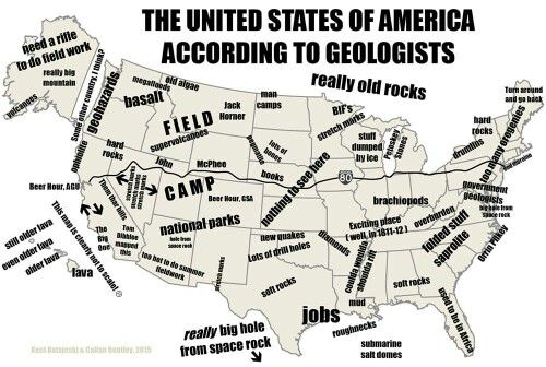 "US Map, according to geologists. LOL at the ""jobs"" in SE Texas oilfields."