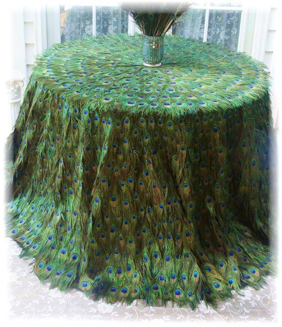 Beautiful Peacock Tablecloth. Wedding possibility for the cake table?  :)
