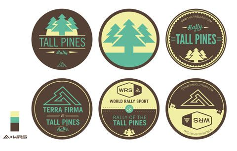 brown, blue, tall pines