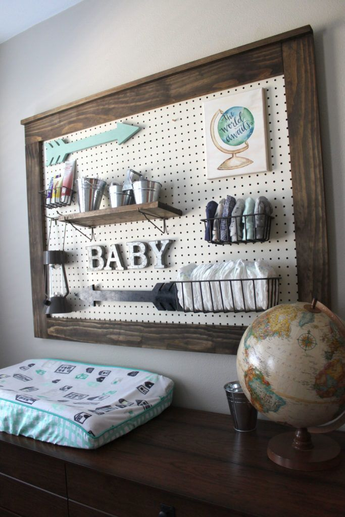 Useful and beautiful! I love this rustic adventure/travel themed nursery! See #projectnursery for more kid bedroom idea. Check out our other pins for more design inspiration!