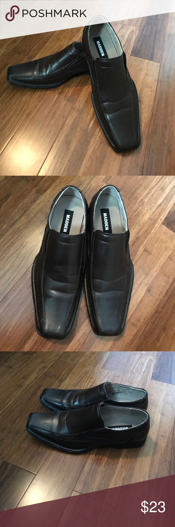 Steve Madden Loafers‼️Final Price Drop‼️ Dark Brown Loafers. Slip on wear.Polished man-made upper with exposed stitch detail.Leather lining.Lightly cushioned man-made footbed.Man-made sole. Small scratch, not noticeable. Steve Madden Shoes Loafers & Slip-Ons