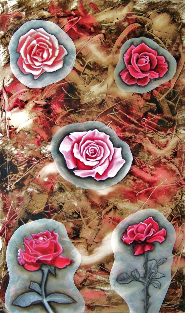 Roses, huile et graphite sur mylar