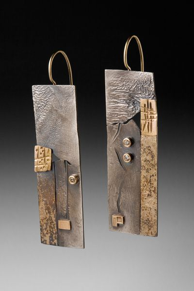 Earrings I by Roger Rimel | Sterling, 14k gold,fused gold, diamonds