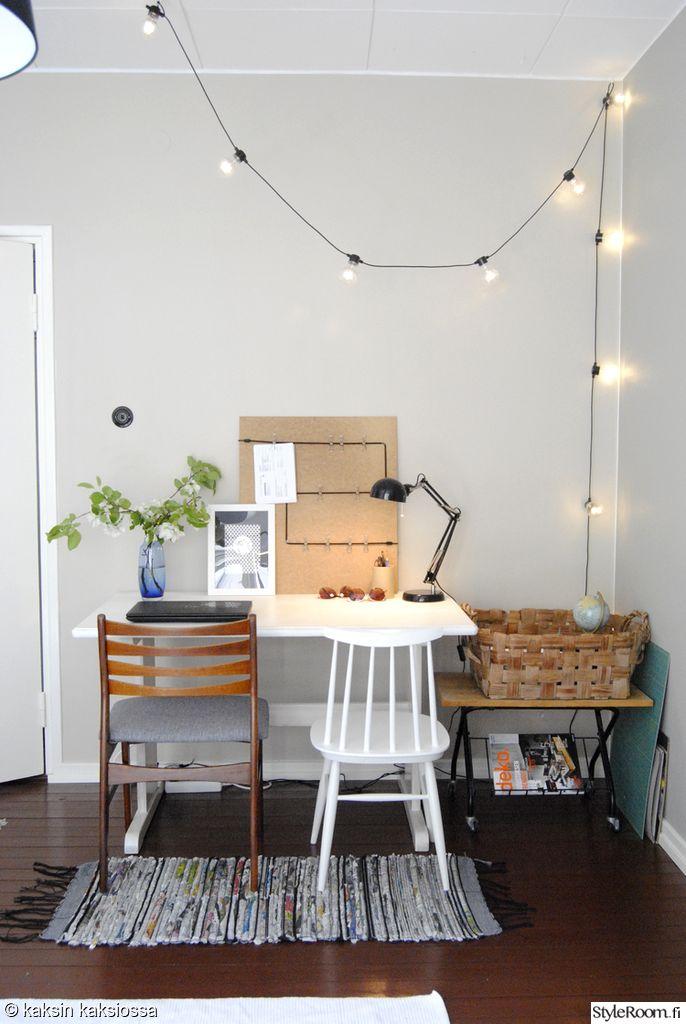Kaksinkaksiossa on koristellut pallovaloilla työpisteensä #styleroom #työhuone #työpöytä #inspiroivakoti