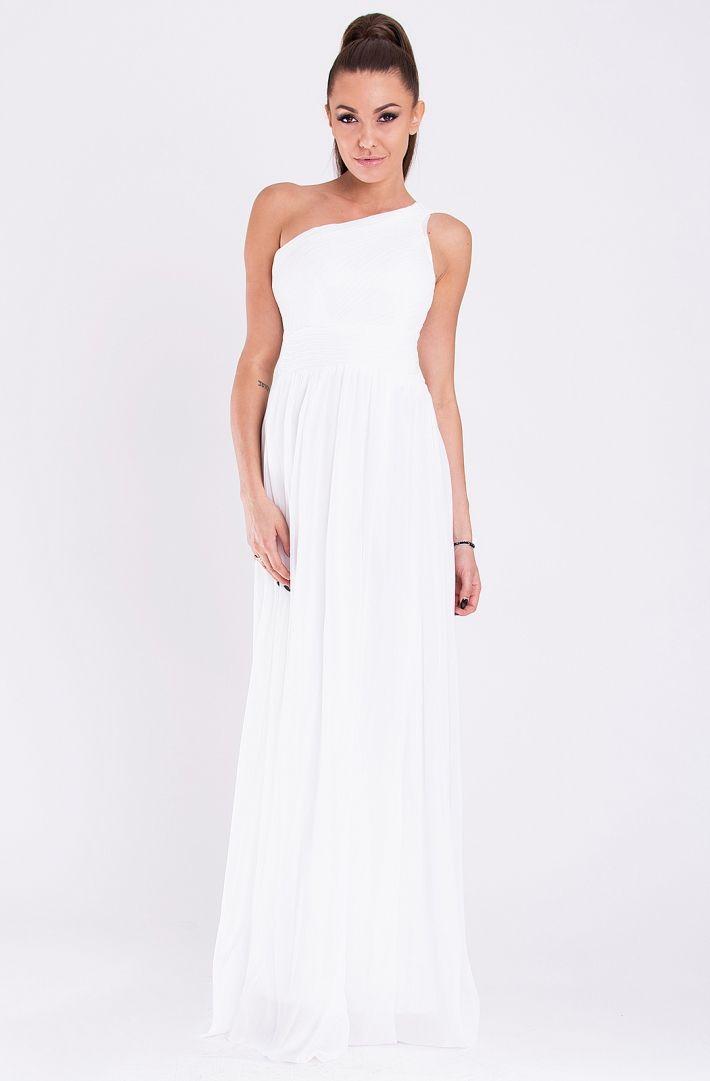 Przepiękna biała suknia wieczorowa na specjalne, ekskluzywne przyjęcia.
