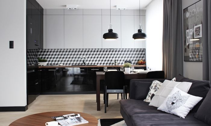 amenajare garsoniera bucatarie mobila neagra gri moderna