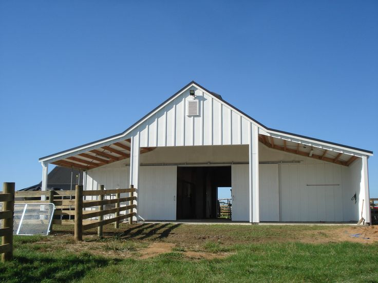 Large covered area outside barn