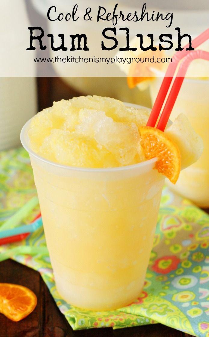 Rum Slush ~ With its refreshing citrus taste and super-cool slushiness, Rum Slush is perfect for sipping on those hot summer days.   www.thekitchenismyplayground.com