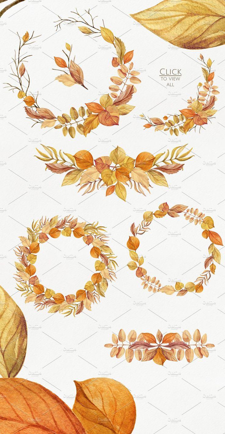 Warm Autumn. Watercolor DIY Pack - Illustrations - 2