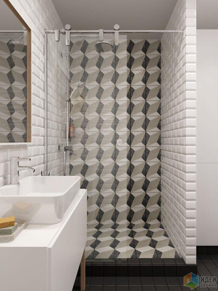 Интерьер в скандинавском стиле, бело-серая ванная комната фото