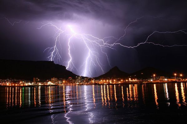 Lightening storm over Cape Town
