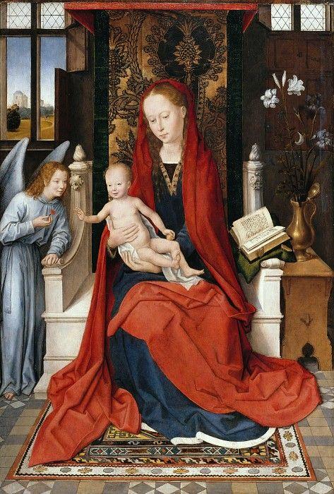 Мемлинг, Ганс (1433-35 - 1494) - Мадонна с Младенцем на троне.