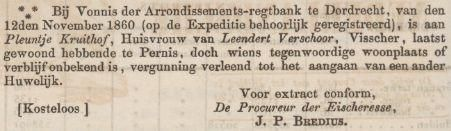 Genealogie Bos: Pleuntje Kruithof bleef kinderen krijgen in Pernis nadat haar man Leendert Verschoor in 1859 op zee was gebleven