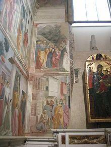 Cappella Brancacci - Masaccio, Masolino e Filippino Lippi - L'insieme degli affreschi di sinistra sulla parete della finestra