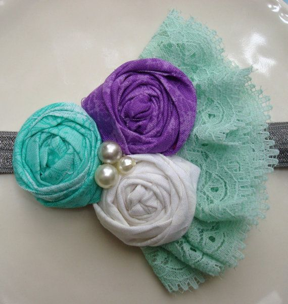 Purple, Grey, White, Teal Flower Headband with Lace and Pearls, Valentine's Headband, Rosette Headband, for Baby, Toddler, Girls, & Adults