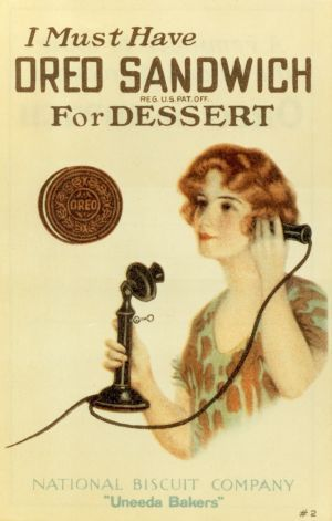 Date of Image: 1920s  Name of person or product: An Oreo ad from around 1920. Photo: Nabisco Image of source:http://www.seattlepi.com/ae/article/A-century-of-Oreos-3386488.php#photo-2587458 Age of person: N/A