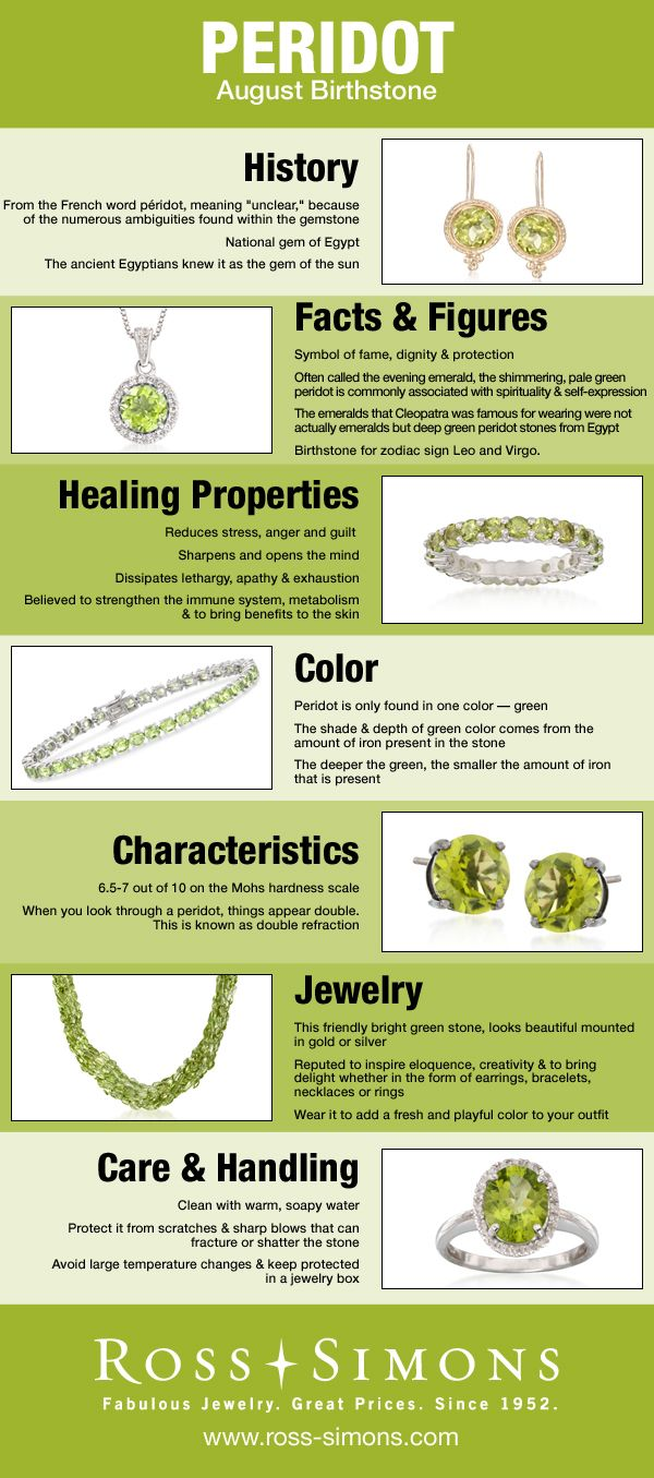 Happy Birthday August Babies! Learn more about your Peridot birthstone in this infographic #jewelry #RossSimons
