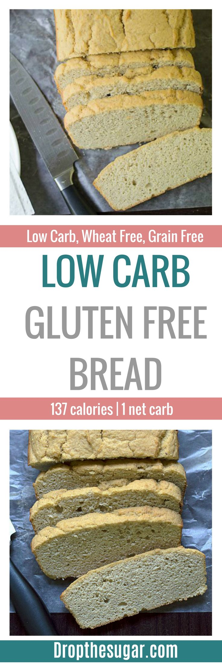 Low Carb Gluten Free Bread | a grain free bread recipe using almond flour and coconut flour. A delicious low carb bread recipe - the closest to white bread I've tasted! Pin now to make later.