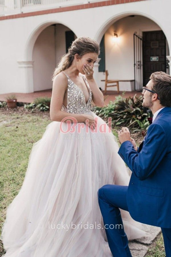 8f5f51e1492f1c dazzling crystals plunging bodice blush tulle ball gown wedding dress 3- 530