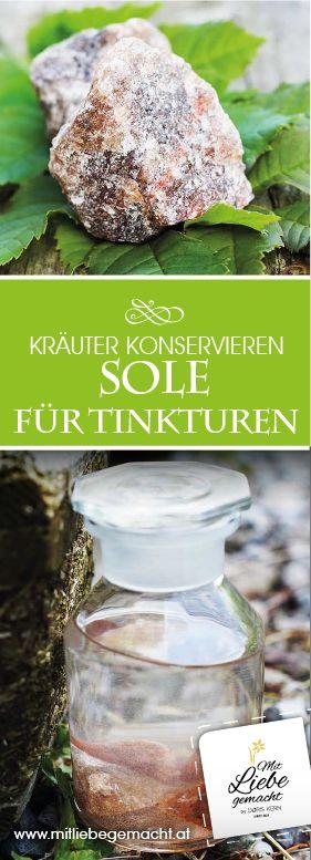 Sole ist eine tolle Basis für Tinkturen und eine gute alternative zu Alkohol. Kräutertinkturen mit Solen, Kräuter DIY, Mit Liebe gemacht