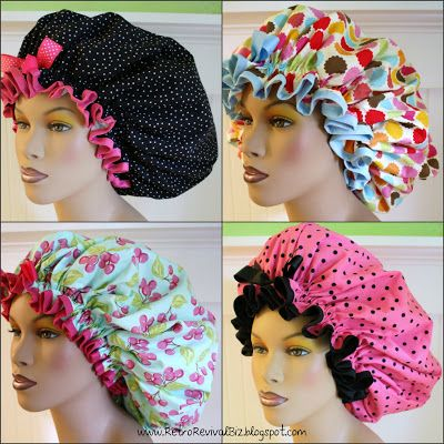 XL waterproof, washable shower caps and satin lined sleep bonnets for dread locs.  New product details on www.RetroRevivalBiz.blogspot.com