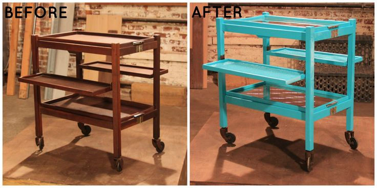 Bright blue Victorian bar cart. See more Flea Market Flip transformations> http://www.greatamericancountry.com/photo/tea-time-to-party-time?soc=pinterest