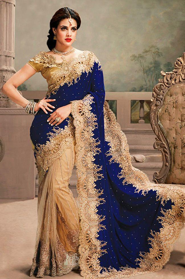 Palkhi Inc - Royal blue and Beige Wedding Saree (S0293), $293.00 (http://www.palkhi.com/royal-blue-and-beige-wedding-saree-s0293/)